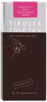 Tiroler Edle - Schokolade 70 % (Zuckerfrei), 50g