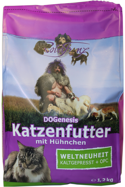 DOGenesis Katzenfutter mit Hühnchen – Weltneuheit Kaltgepresst + OPC - 1,2 Kg